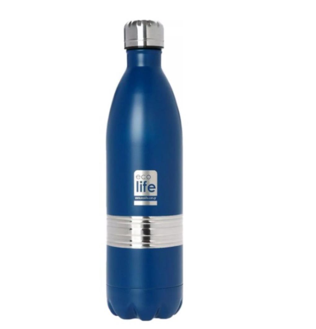 Ecolife Μεταλλικός Θερμός 1Lt Μπλε