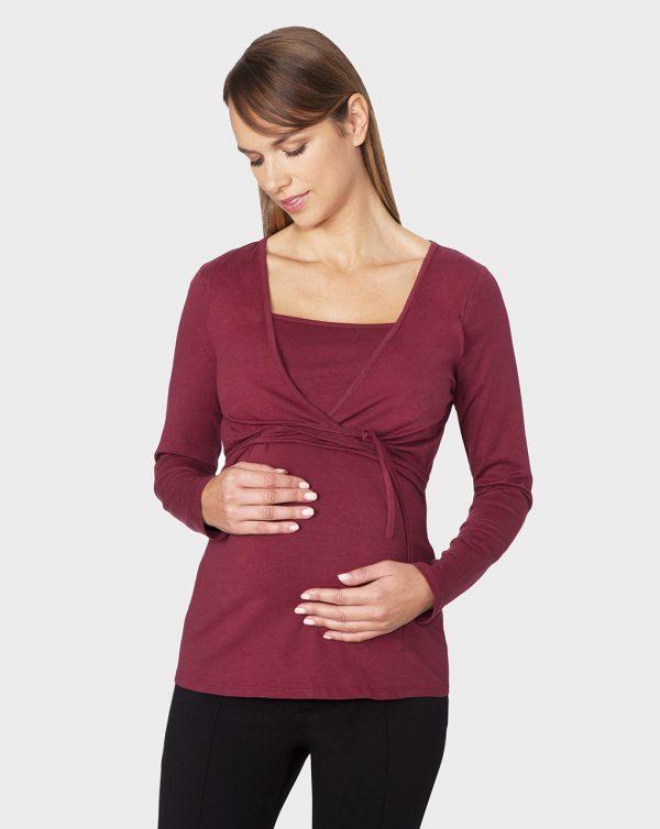 Γυναικεία Μπλούζα Θηλασμού Κρουαζέ Μπορντό