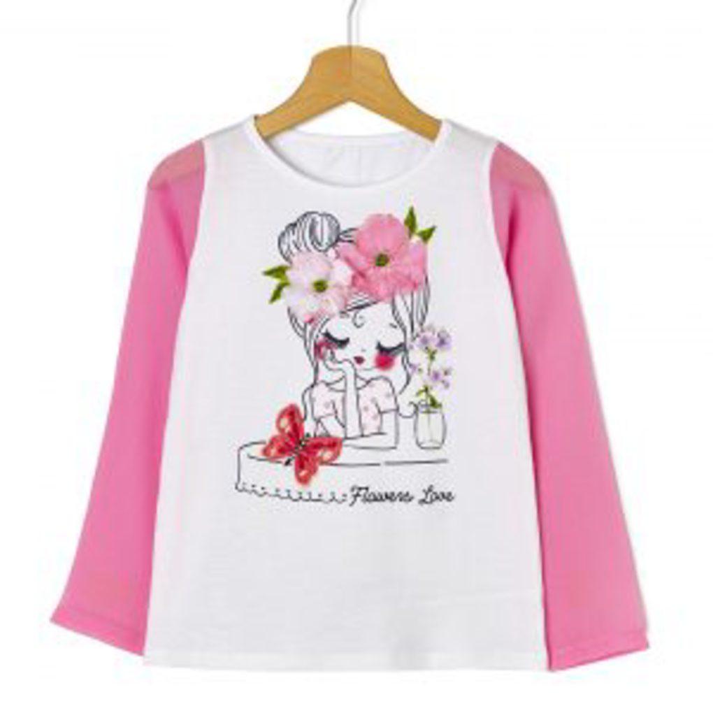 Μπλούζα Μακρυμάνικη με Μανίκια από Οργκάνζα Ροζ Μεγ.8-9/9-10 Ετών για Κορίτσι