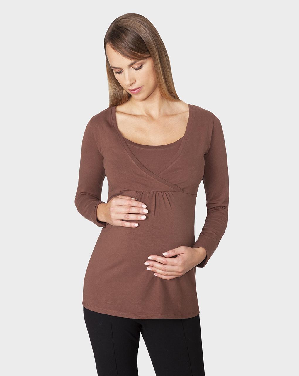 Γυναικείο T-shirt Θηλασμού Καφέ