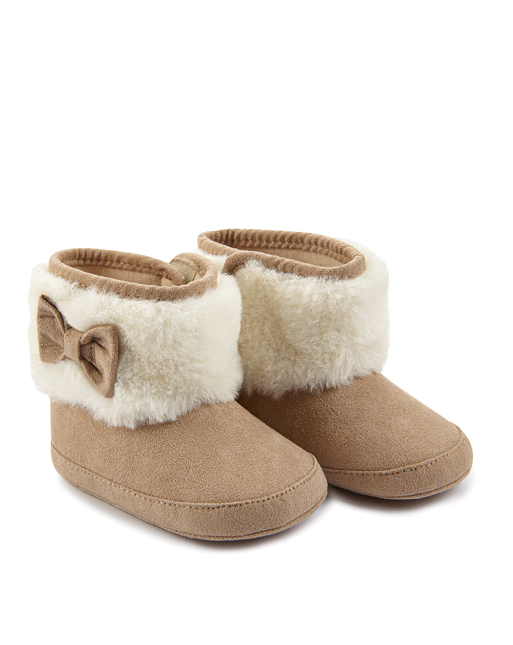 Βρεφικά Παπούτσια Αγκαλιάς Μποτάκι Σουέντ με Οικολογική Γούνα για Κορίτσι