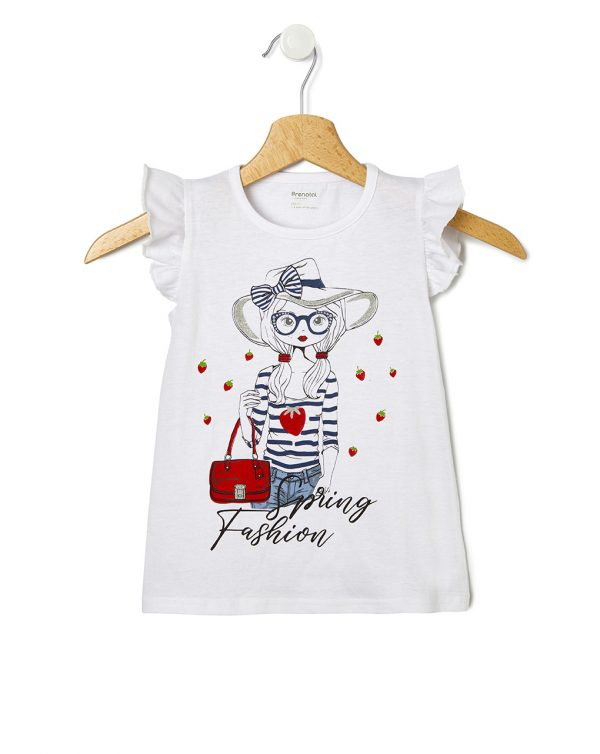 T-Shirt Jersey Λευκό με Στάμπα Κοριτσάκι για Κορίτσι