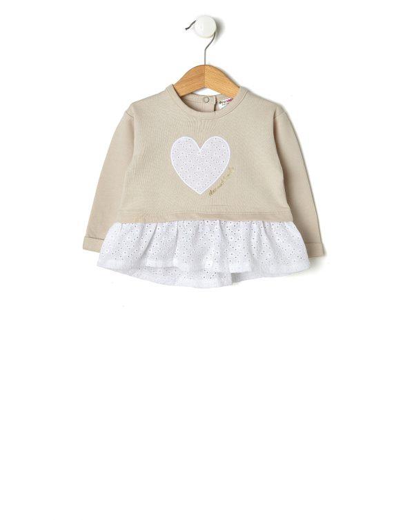 Μπλούζα Φούτερ Μπεζ με Ένθετο Sangallo για Κορίτσι
