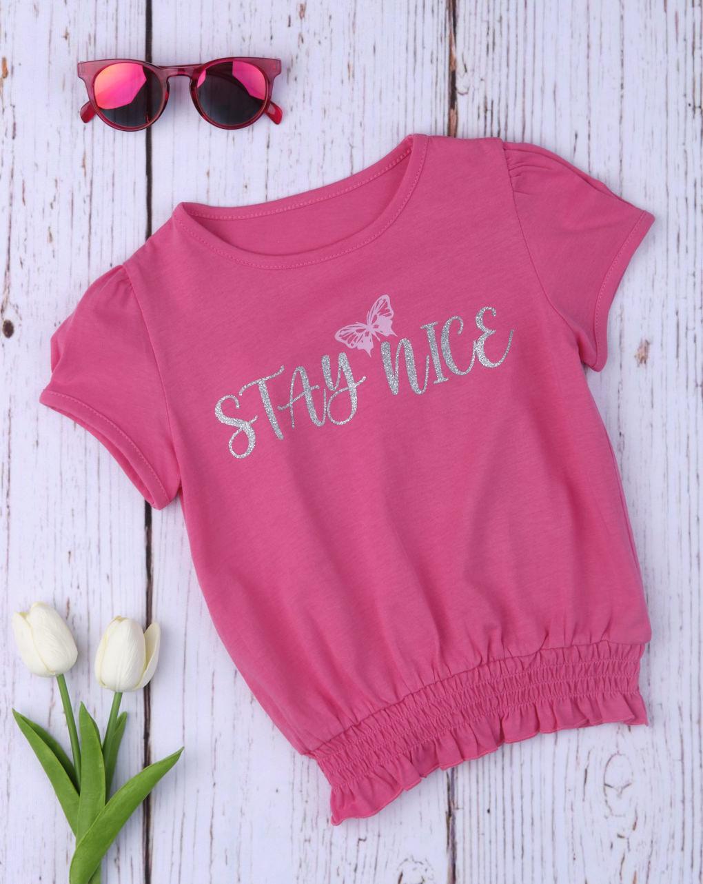 T-shirt Φούξια με Λάστιχο για Κορίτσι