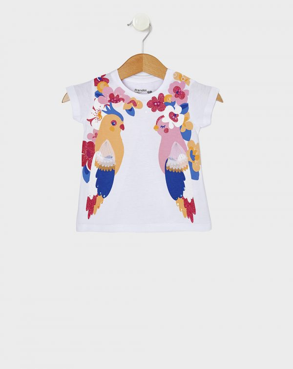 T-Shirt Jersey Λευκό με Στάμπα Παπαγάλους για Κορίτσι