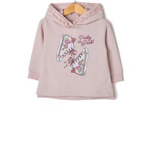 Μπλούζα Φούτερ Ροζ με Στάμπα για Κορίτσι