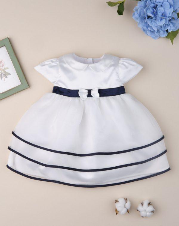 Φόρεμα Elegant Εκρού με Μπλε Λεπτομέρειες για Κορίτσι
