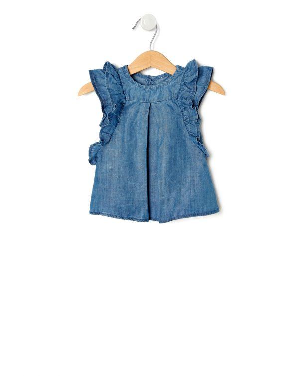 T-Shirt Tencel με Εφέ Denim και Βολάν για Κορίτσι