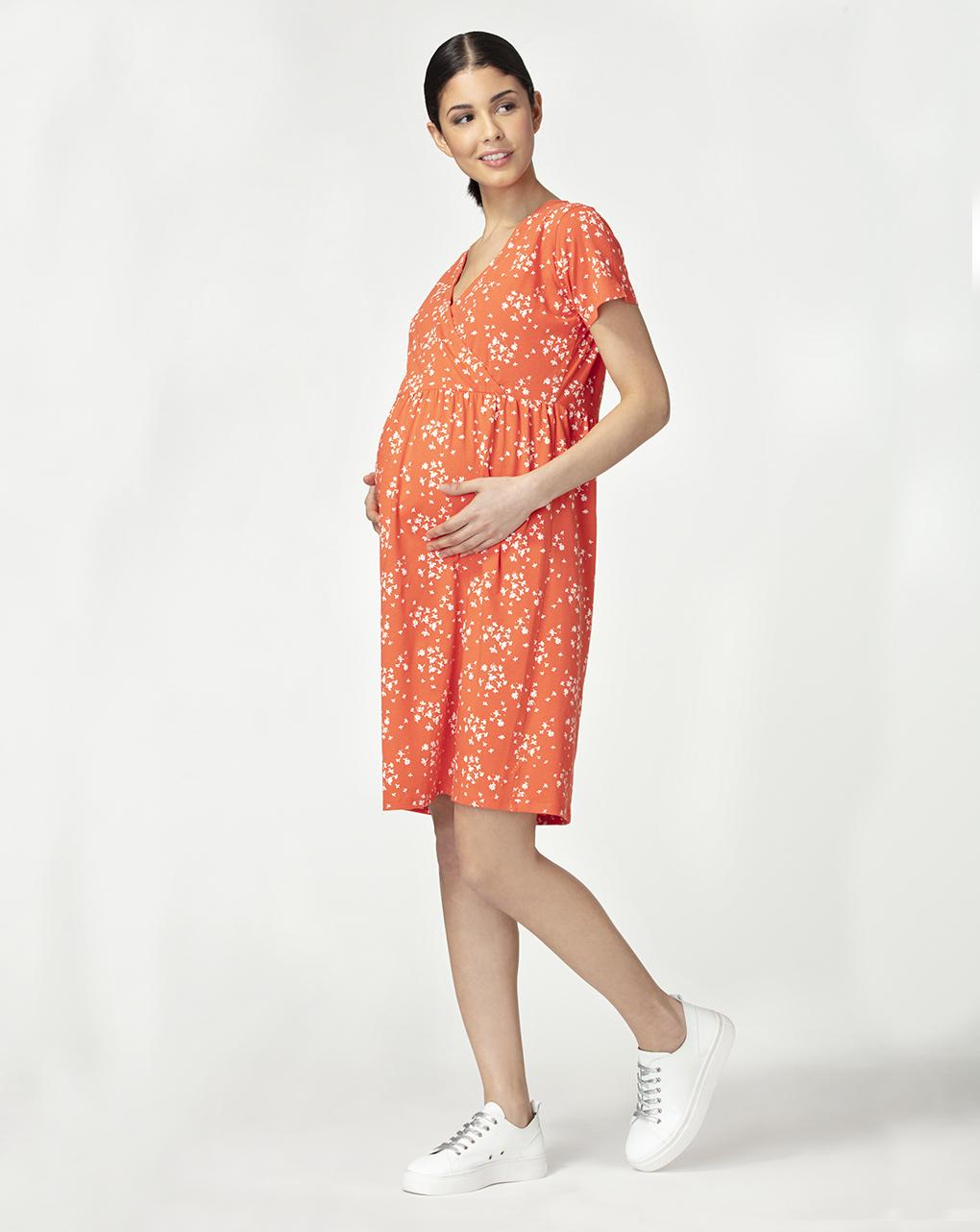 Γυναικείο Φόρεμα Θηλασμού Κοραλί με Στάμπα
