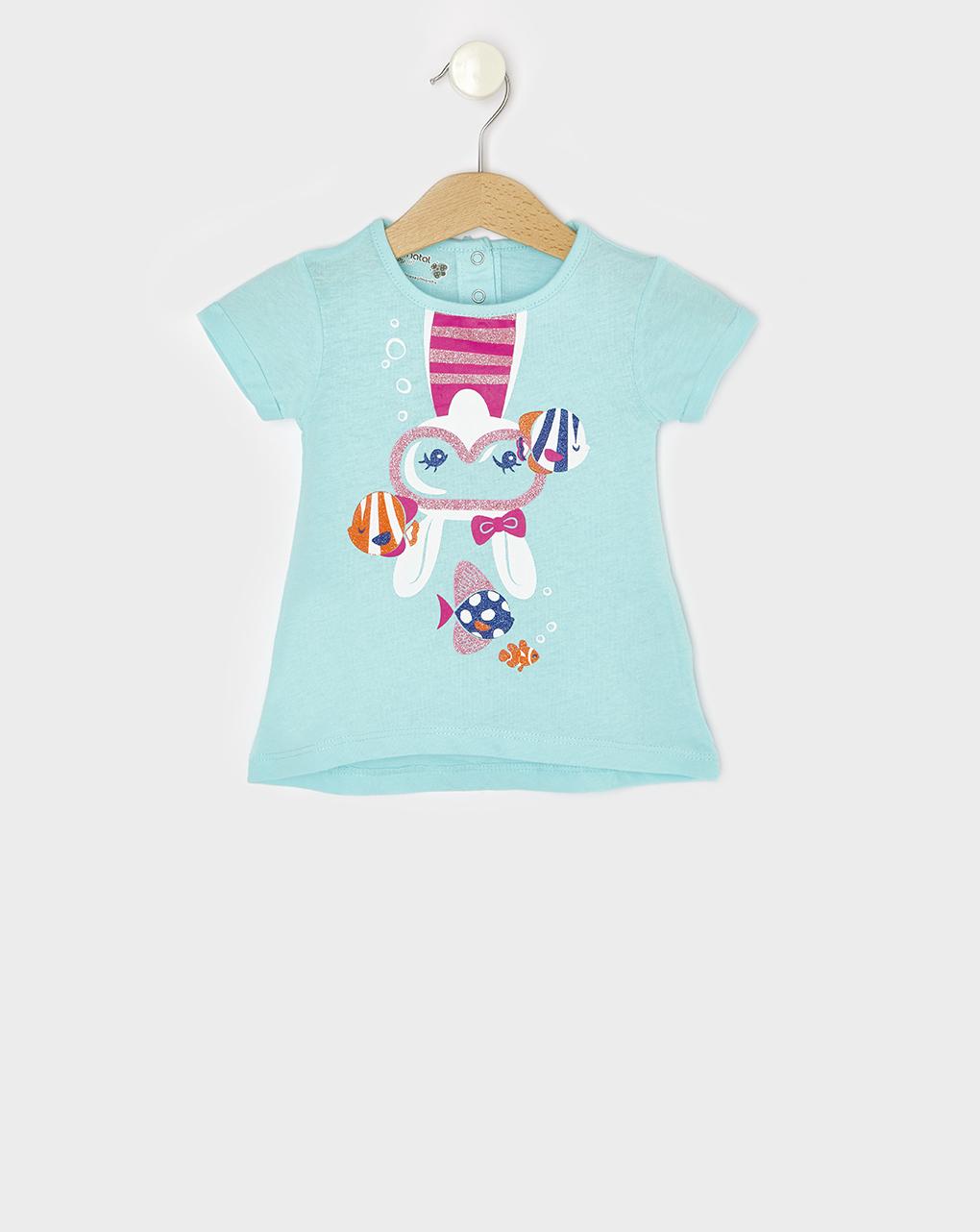 T-Shirt Basic Γαλάζιο με Στάμπα για Κορίτσι