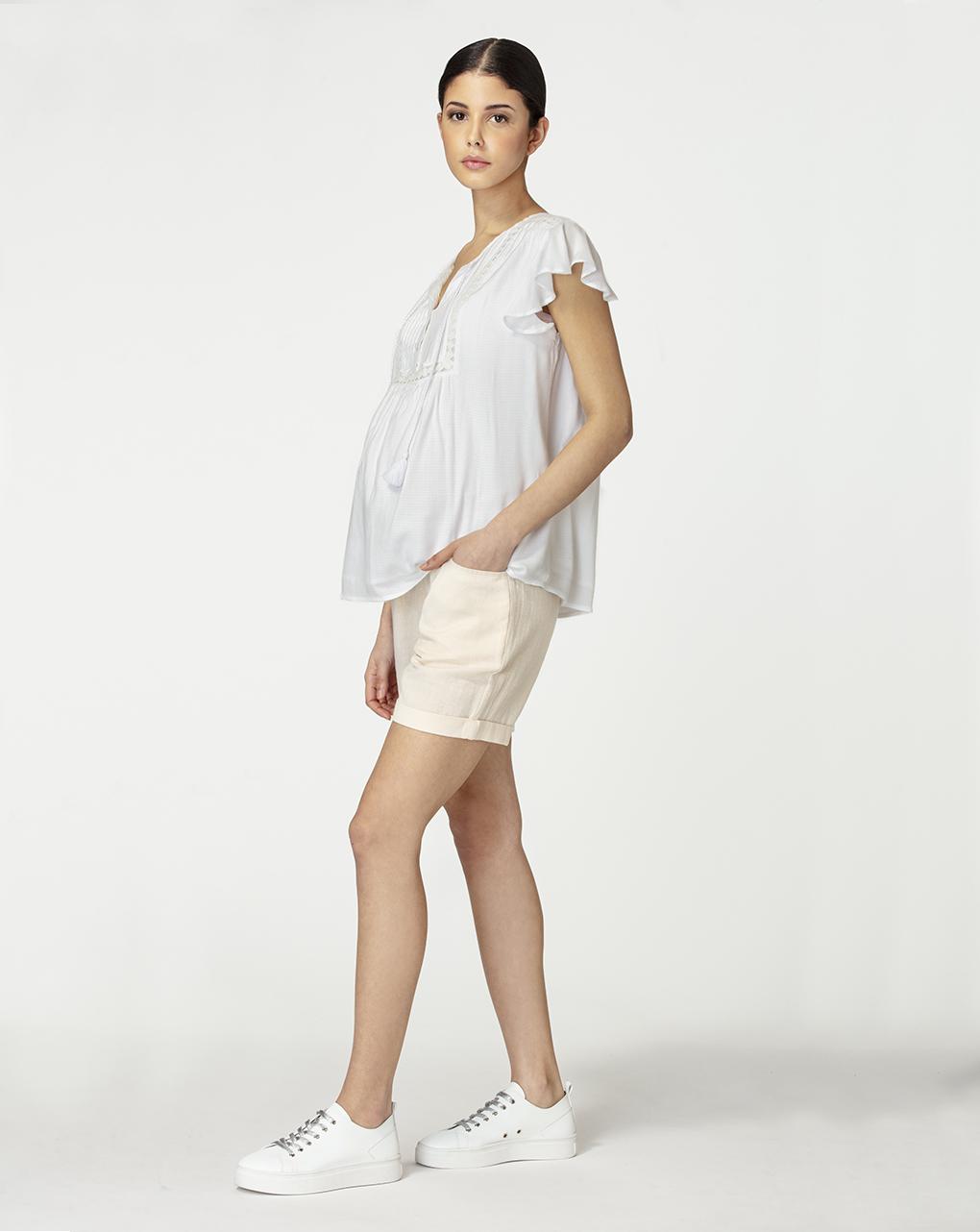 Γυναικείο T-Shirt Θηλασμού Λευκό με Κορδόνια