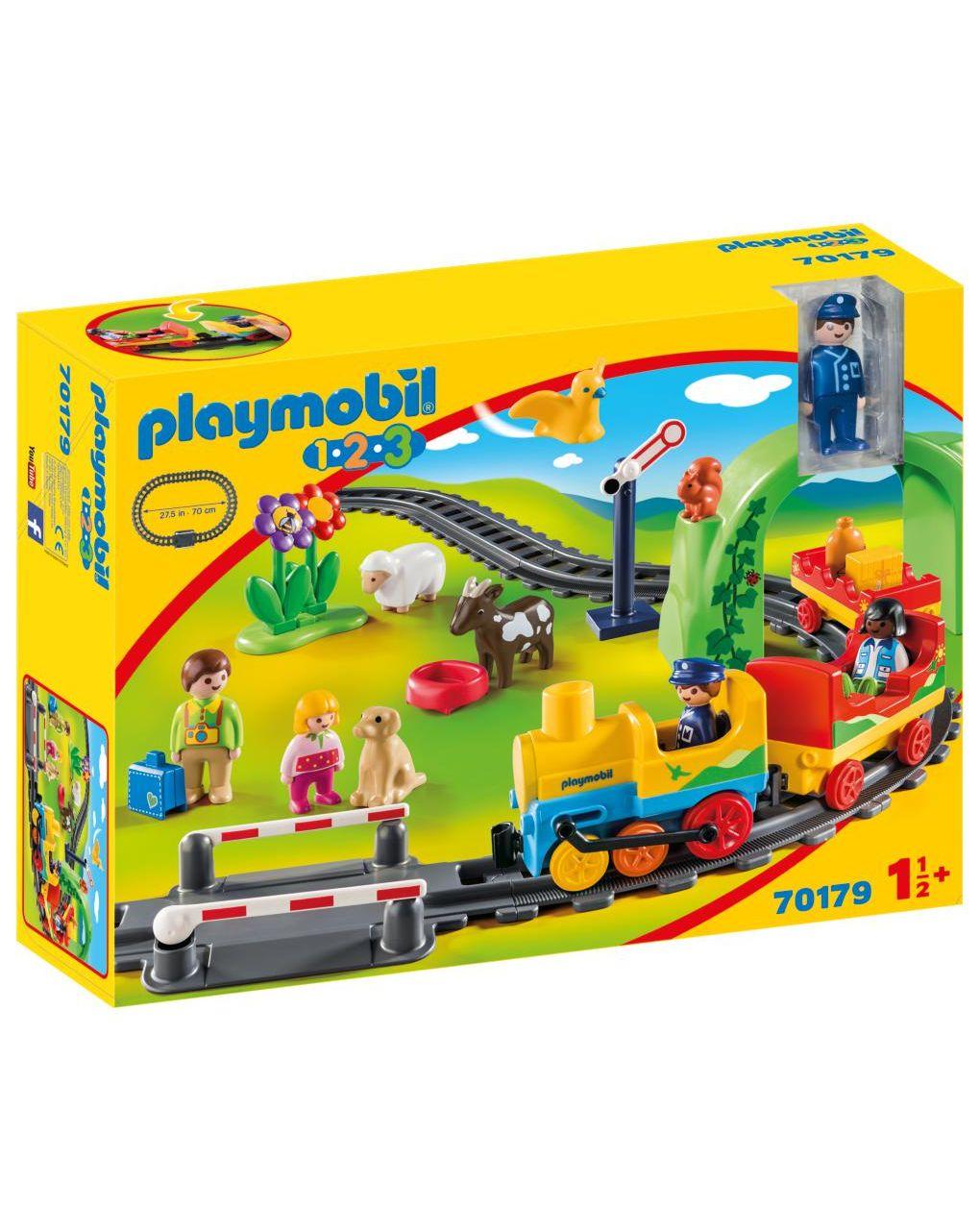 Playmobil 1.2.3 Σετ Τρένου Με Ζωάκια Και Επιβάτες 70179