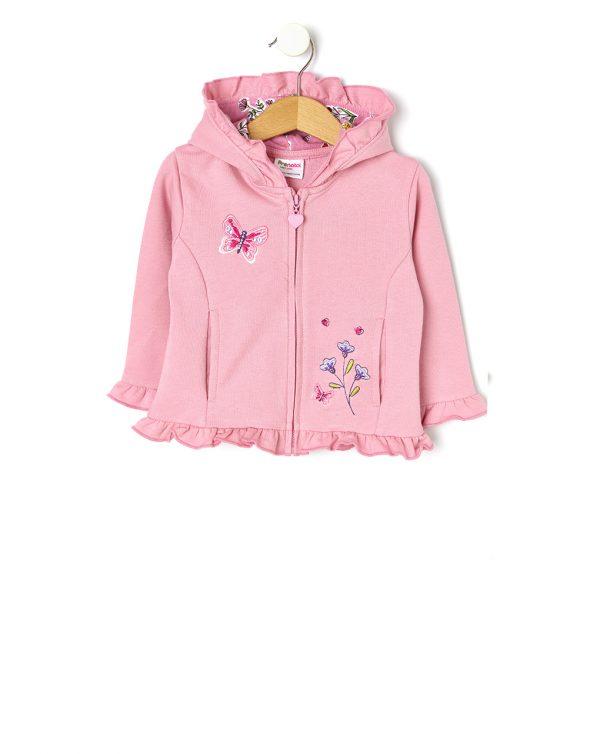 Ζακέτα Φόρμας με Κεντήματα Ροζ για Κορίτσι