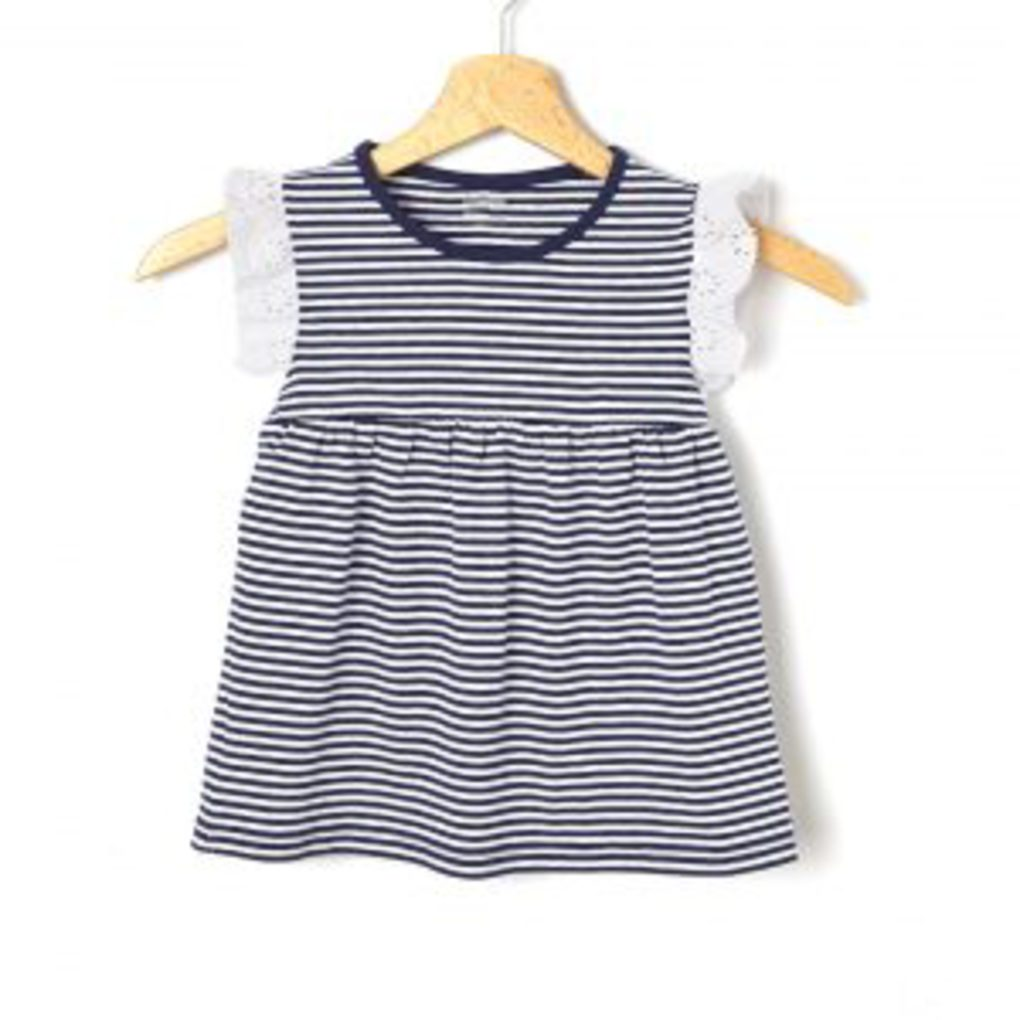T-Shirt Βαμβακερό Ριγέ Σκούρο Μπλε με Λεπτομέρειες Δαντέλας Μεγ.8-9/9-10 Ετών για Κορίτσι