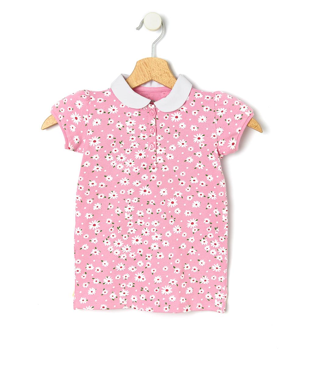 T-Shirt Πόλο Ροζ με Λουλουδάκια για Κορίτσι