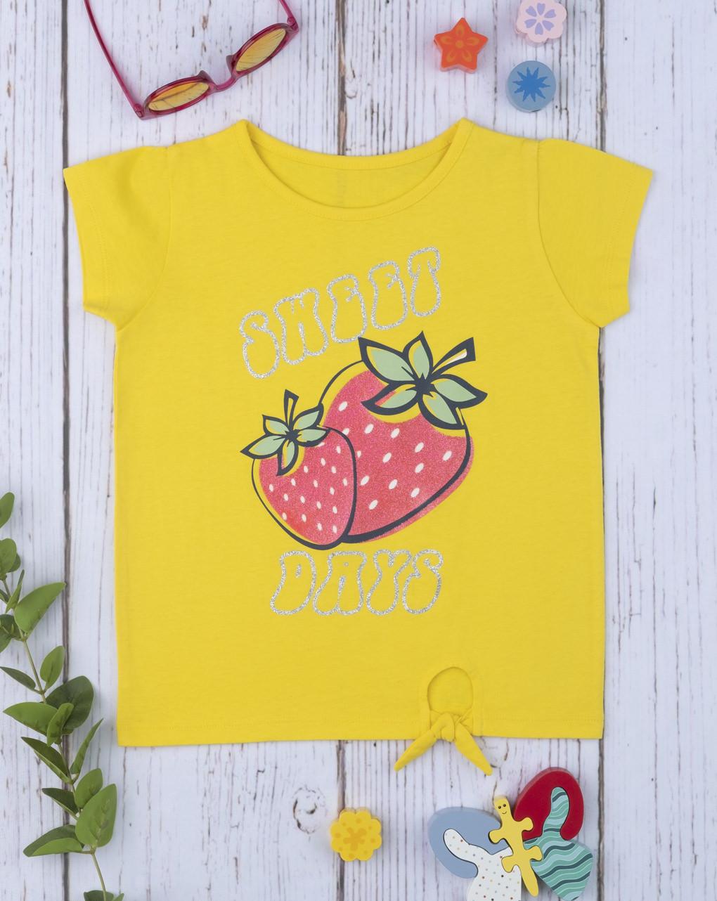 T-Shirt Jersey Κίτρινο με Στάμπα και Δέσιμο για Κορίτσι