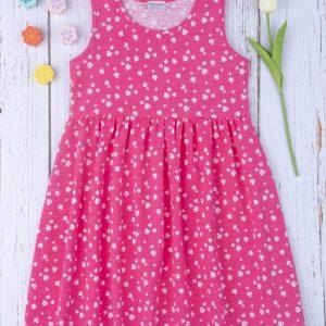 Φόρεμα Αμάνικο Jersey Φούξια με Λουλουδάκια για Κορίτσι