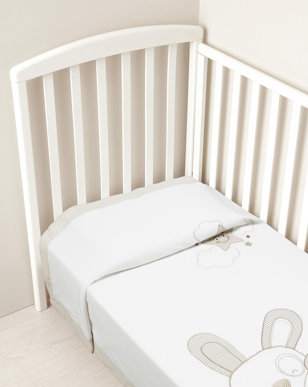 Καλοκαιρινή Κουβέρτα για Κρεβάτι Λευκό - Μπεζ με Ζωάκια