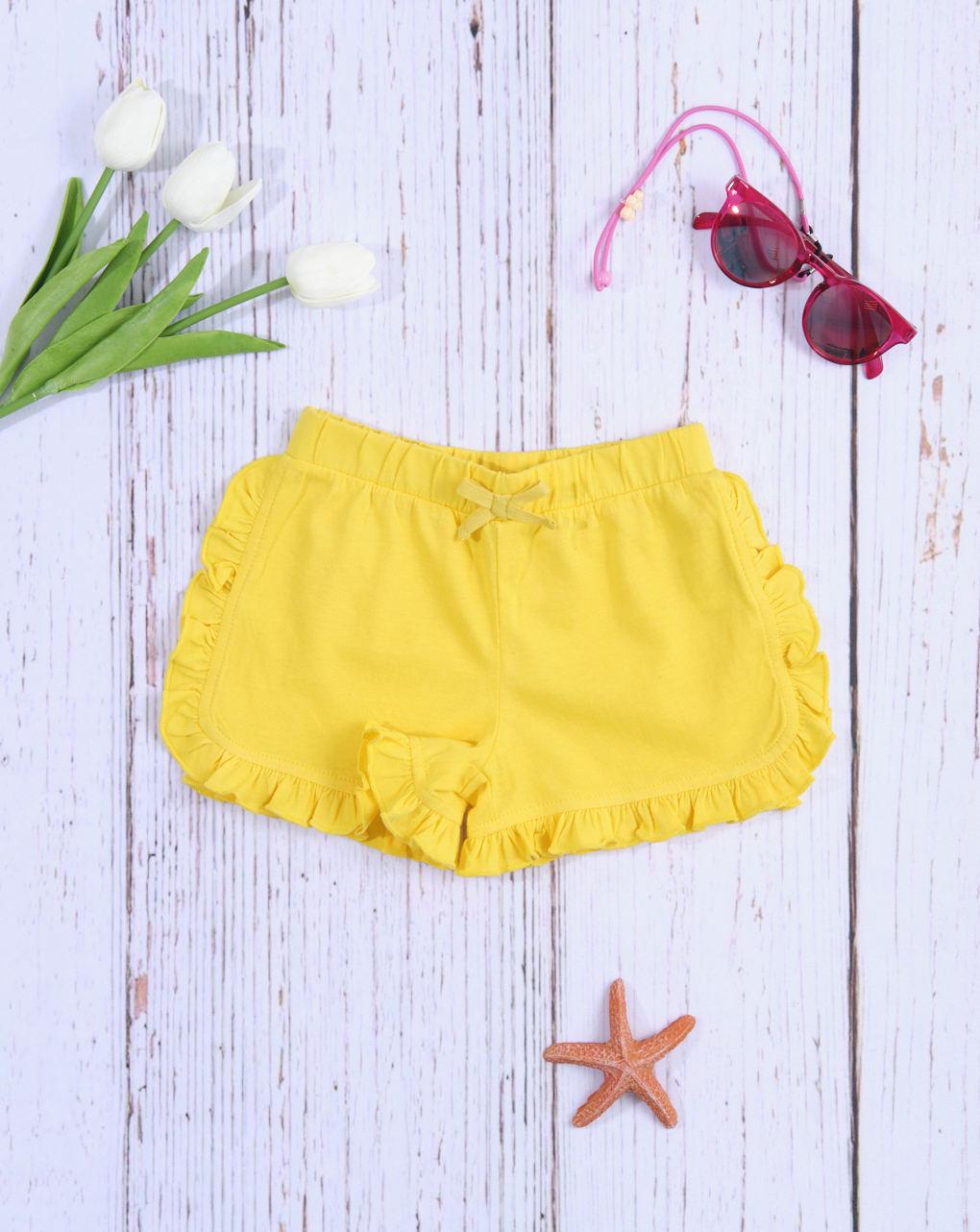 Σορτσάκι Jersey Κίτρινο με Βολάν για Κορίτσι