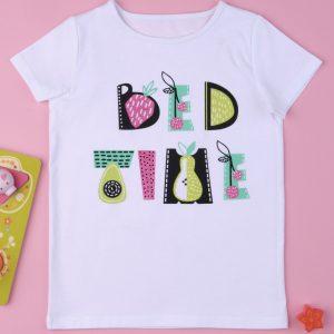 T-Shirt Jersey Λευκό με Στάμπα για Κορίτσι