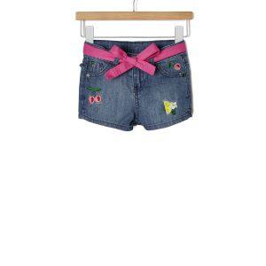 Σορτς Denim με Κεντήματα και Ζώνη για Κορίτσι