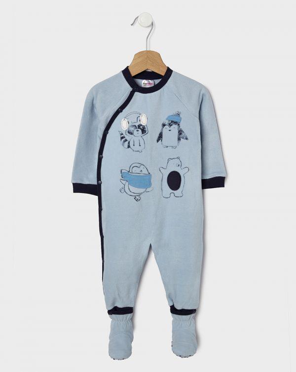 Πιτζαμάκι Fleece Γαλάζιο για Αγόρι με Ζωάκια