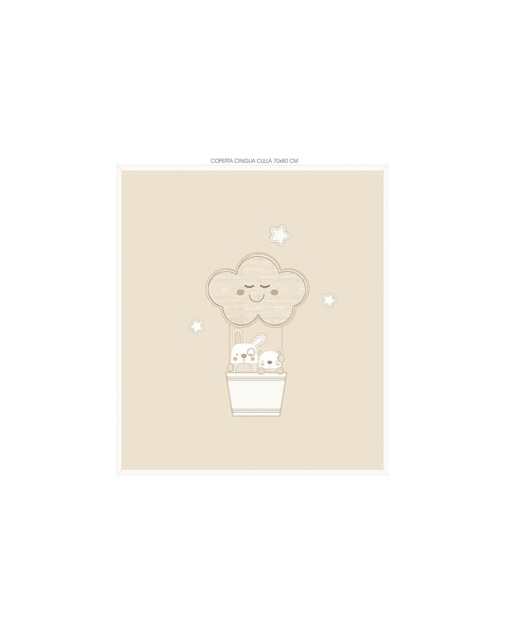 Prenatal Κουβέρτα Σενίλ για Λίκνο/Πορτ Μπεμπε Natural - 70 x 80 cm