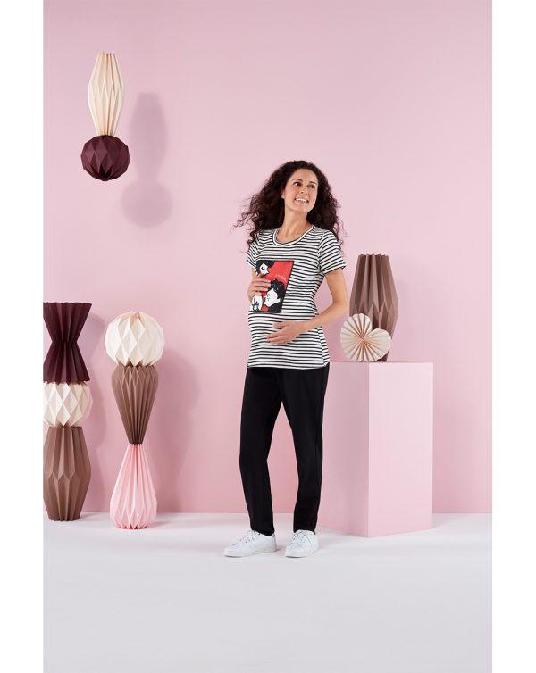 Γυναικείο T-Shirt Ριγέ Ασπρόμαυρο με Στάμπα