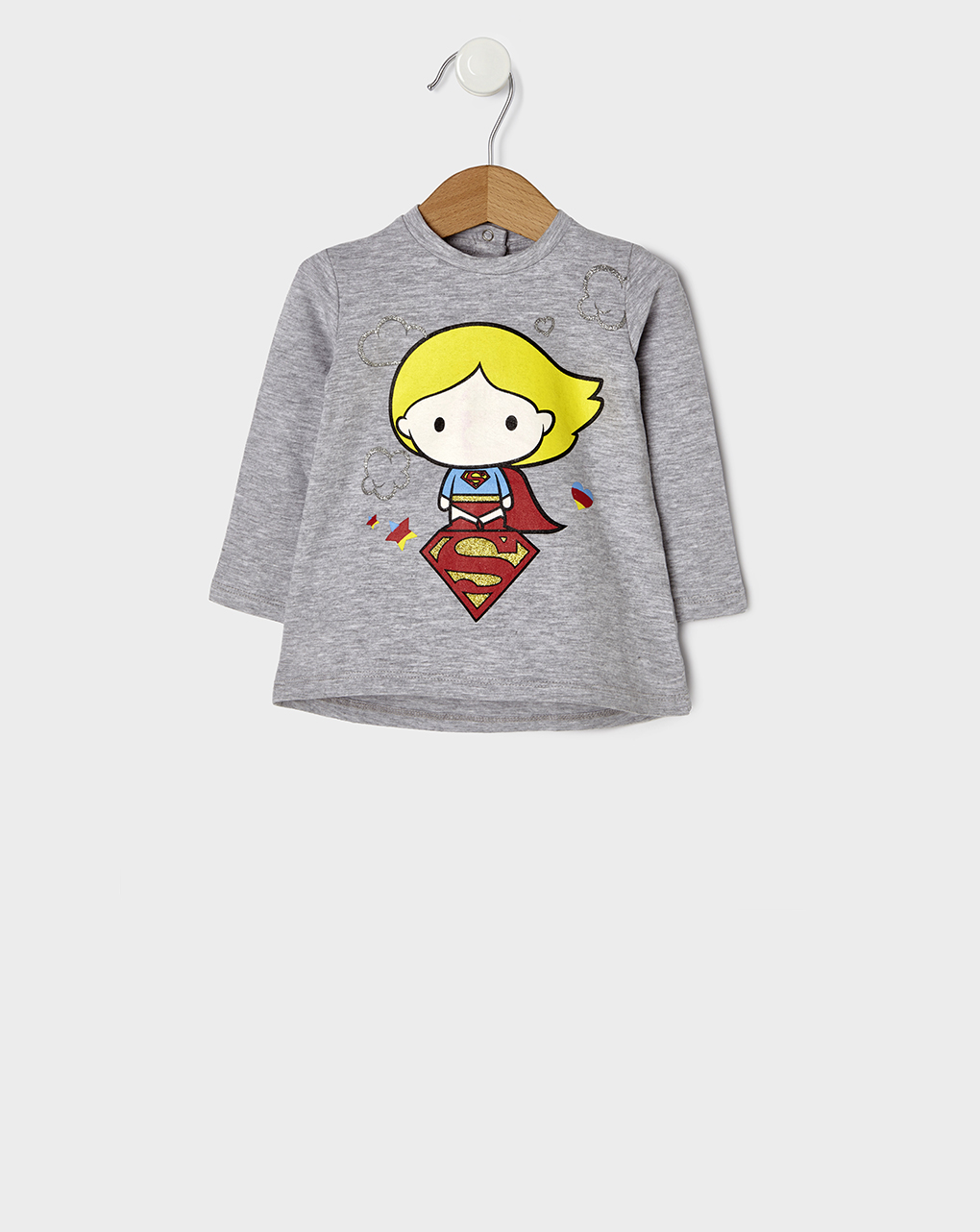 T-shirt Γκρι με Στάμπα Βaby Supergirl για Κορίτσι