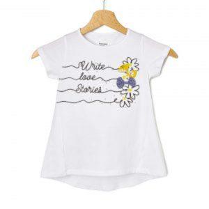 T-Shirt Jersey Λευκό με Στάμπα και Φιογκάκια Μεγ.8-9/9-10 Ετών για Κορίτσι