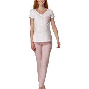 Γυναικεία Πιτζάμα Λευκή - Ροζ