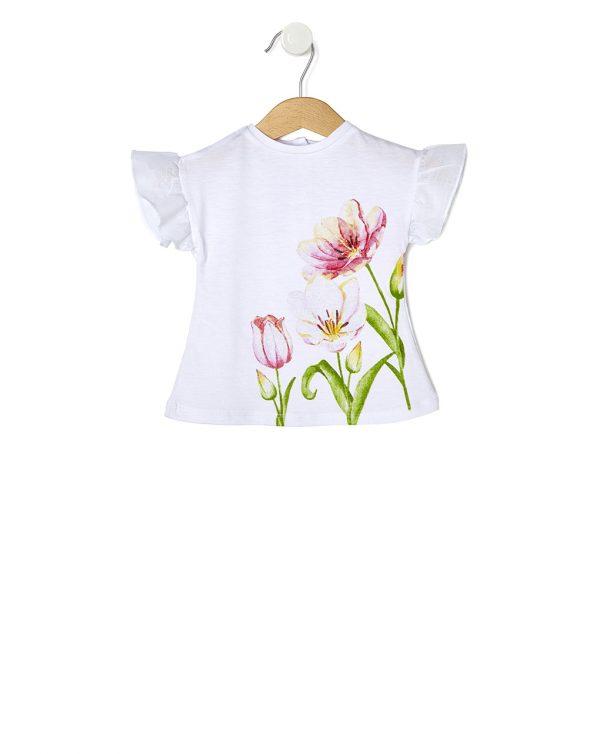 T-Shirt Λευκό Elegant με Στάμπα Τουλίπες για Κορίτσι