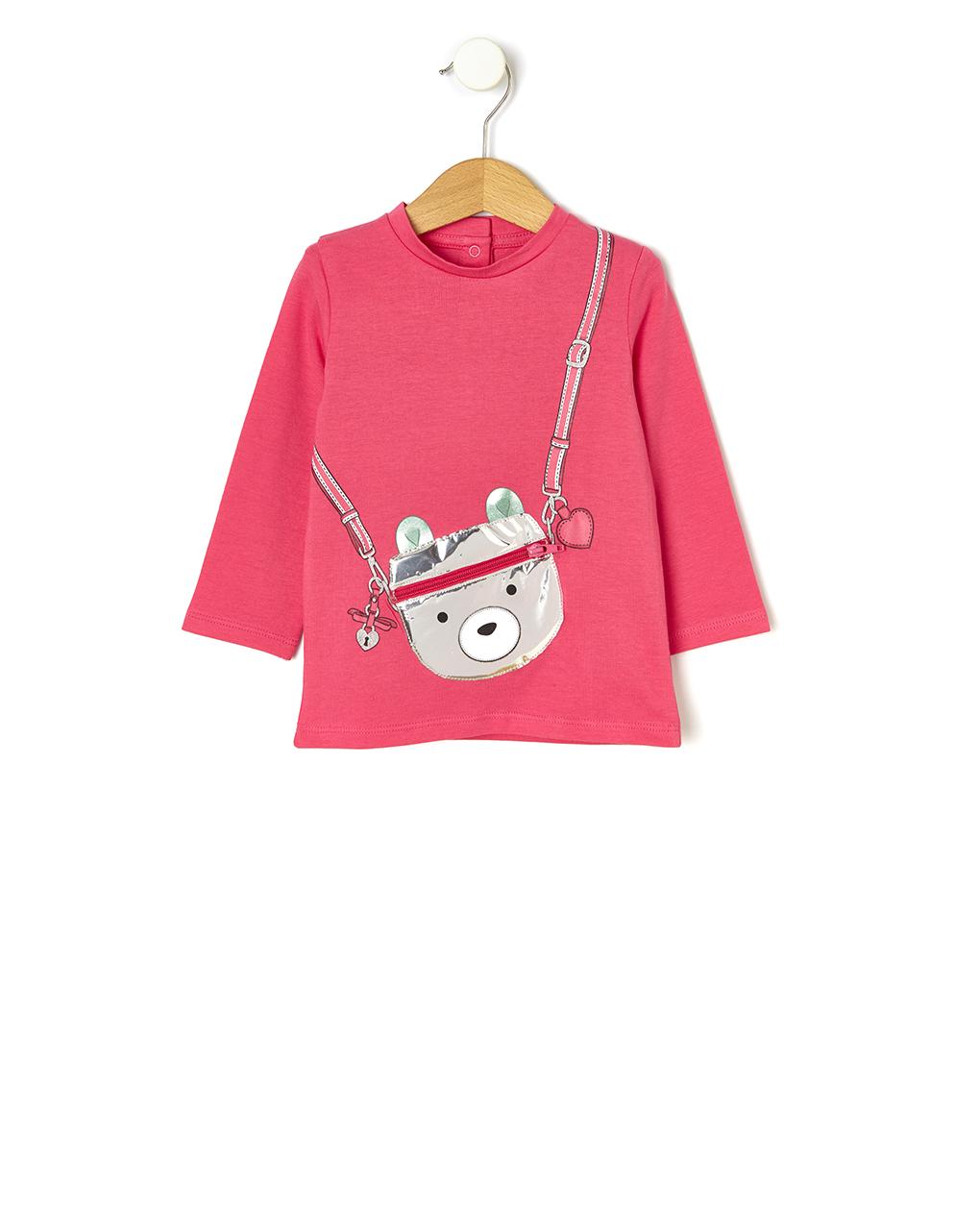 Μπλούζα Μακρυμάνικη Φούξια με Αρκουδάκι για Κορίτσι