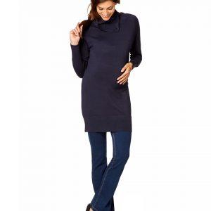 Γυναικεία Μπλούζα Πλεκτή Maxi Μπλε