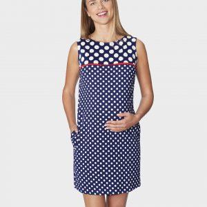 Γυναικείο Φόρεμα Μπλε Σκούρο με Πουά