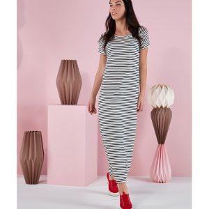 Γυναικείο Φόρεμα Μακρύ Κοντομάνικο Ριγέ Ασπρόμαυρο