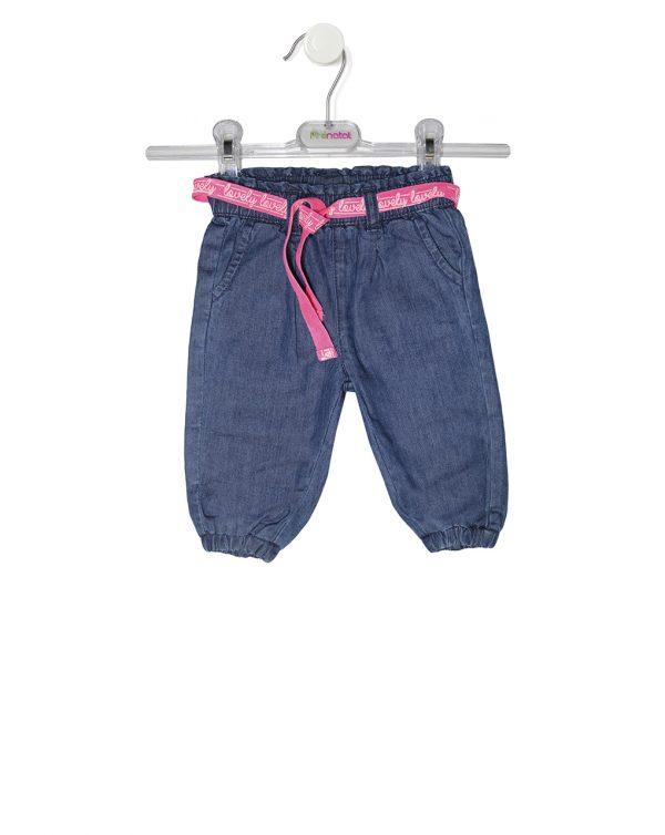 Παντελόνι Denim Μαλακό με Φούξια Ζώνη για Κορίτσι
