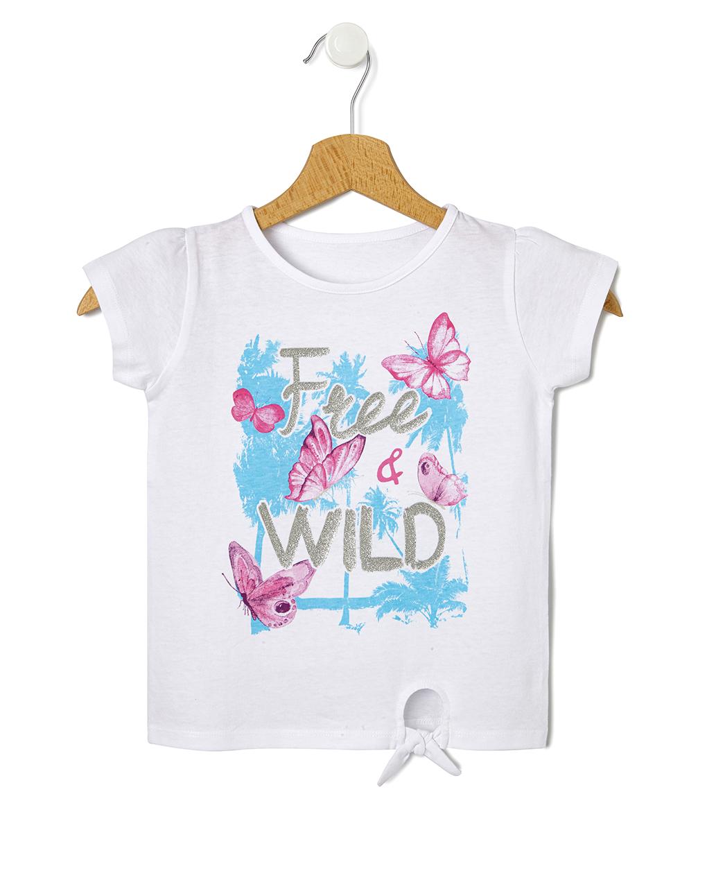 T-Shirt Jersey Λευκό με Στάμπα Πεταλούδες και Κόμπο για Κορίτσι