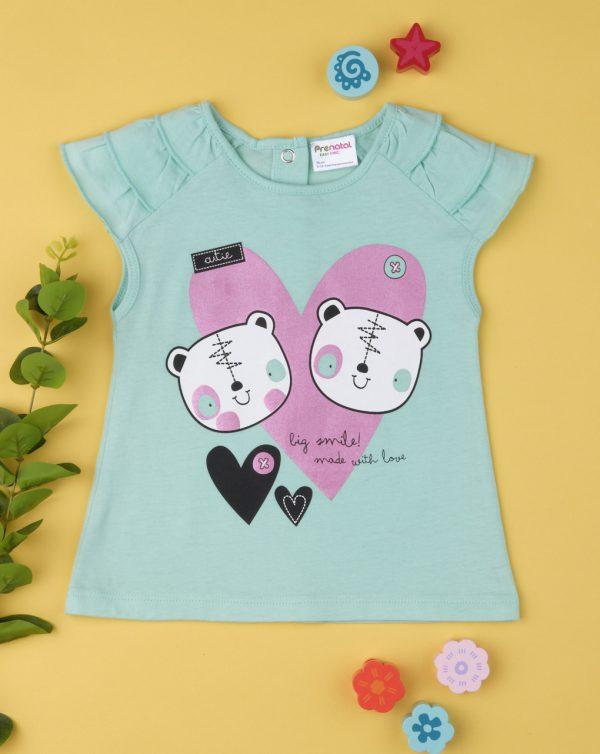 T-Shirt Πράσινο με Βολάν στο Μανίκι για Κορίτσι
