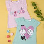 T-Shirt Ροζ με Βολάν στο Μανίκι για Κορίτσι