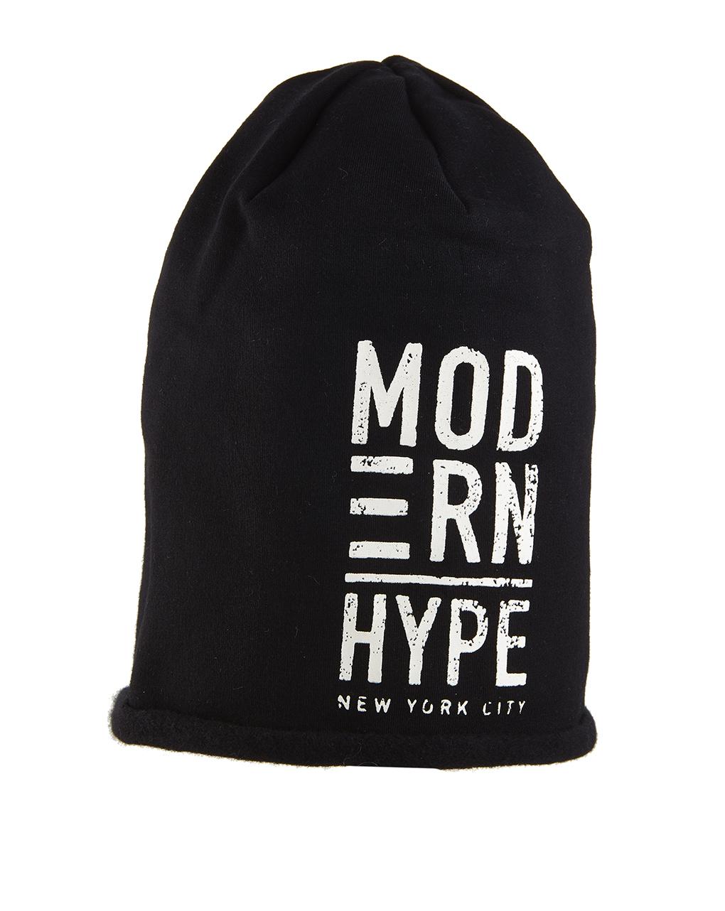 Σκουφί Φούτερ Μαύρο με Στάμπα Modern Hype