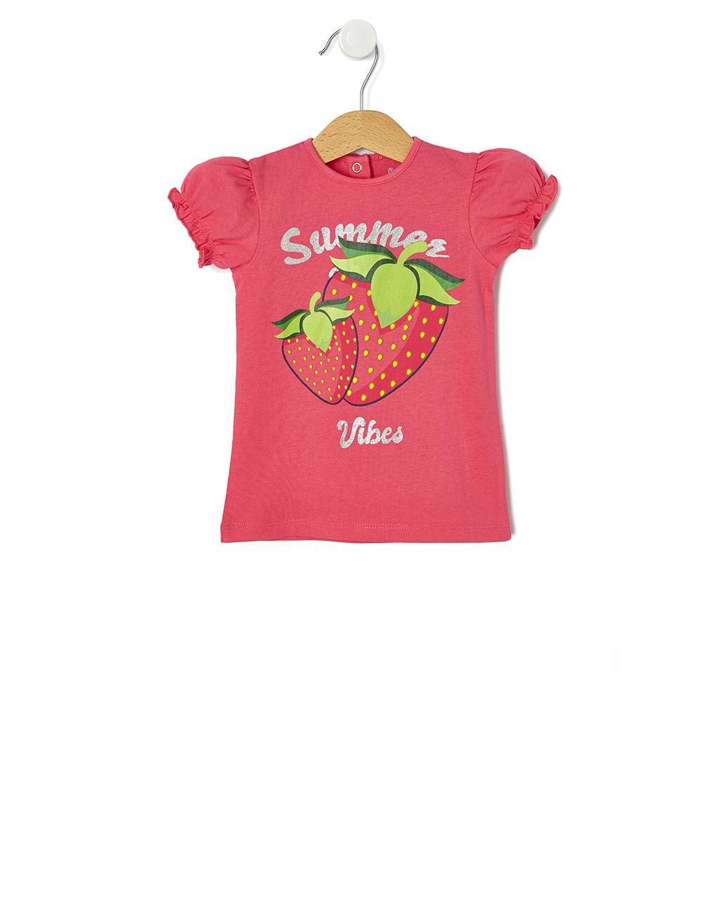 T-Shirt Jersey Φούξια με Στάμπα Φράουλες για Κορίτσι