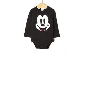 Body Interlock Μαύρο με τον Mickey Mouse για Αγόρι