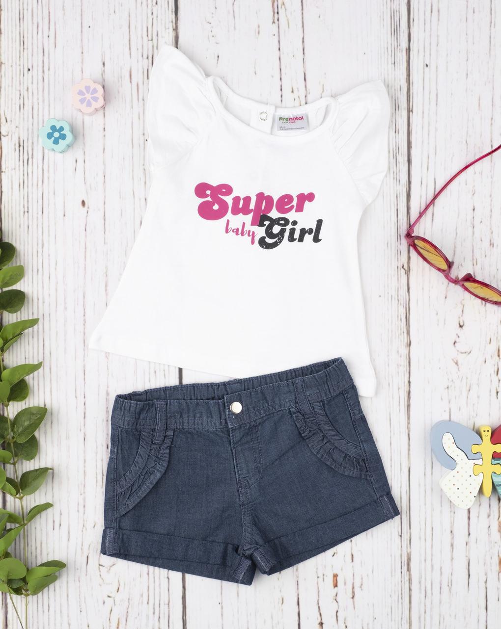 Σετ T-Shirt Αμάνικο και Σορτσάκι με Εφέ Denim για Κορίτσι