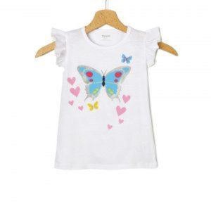 T-Shirt Jersey Λευκό με Στάμπα Πεταλούδα Μεγ.8-9/9-10 Ετών για Κορίτσι