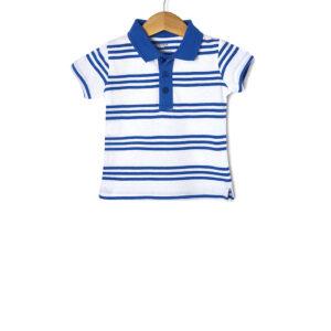 T-shirt Jersey Πόλο Ριγέ Μπλε - Λευκό για Αγόρι