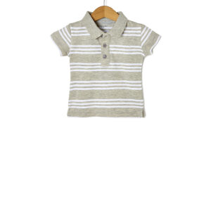 T-shirt Jersey Πόλο Ριγέ Γκρι - Λευκό για Αγόρι