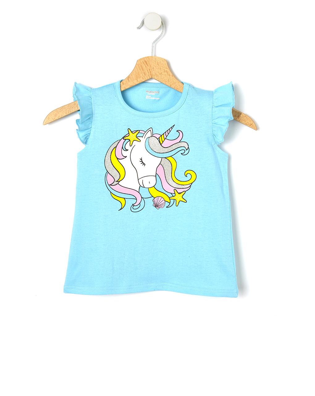 T-Shirt Jersey Γαλάζιο με Στάμπα για Κορίτσι