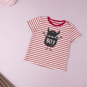 T-Shirt Jersey Ριγέ Λευκό - Κόκκινο με Στάμπα για Αγόρι