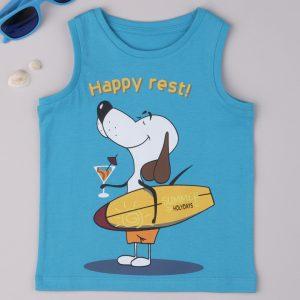 Μπλούζα Αμάνικη Γαλάζια με Σκυλάκι για Αγόρι